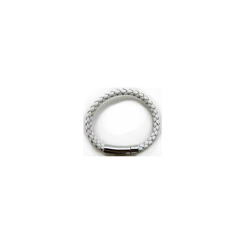 White Leather Bracelet 6mm - L0026