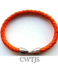 Orange Leather Bracelet 6mm - L029 Orang