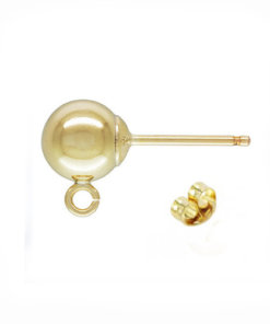 9 Carat Yellow Gold Ball Stud and Ring Open - Ball Stud With Ring (Open)