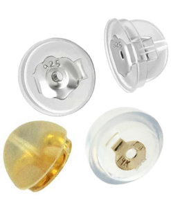 Silicone Nut with Built in Push On Silver 14 Carat Yellow Gold