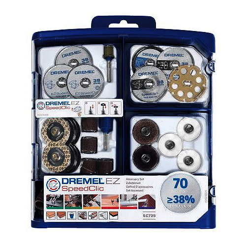 70 Piece Kit with Quality Dremel EZ SpeedClic - DRE-725