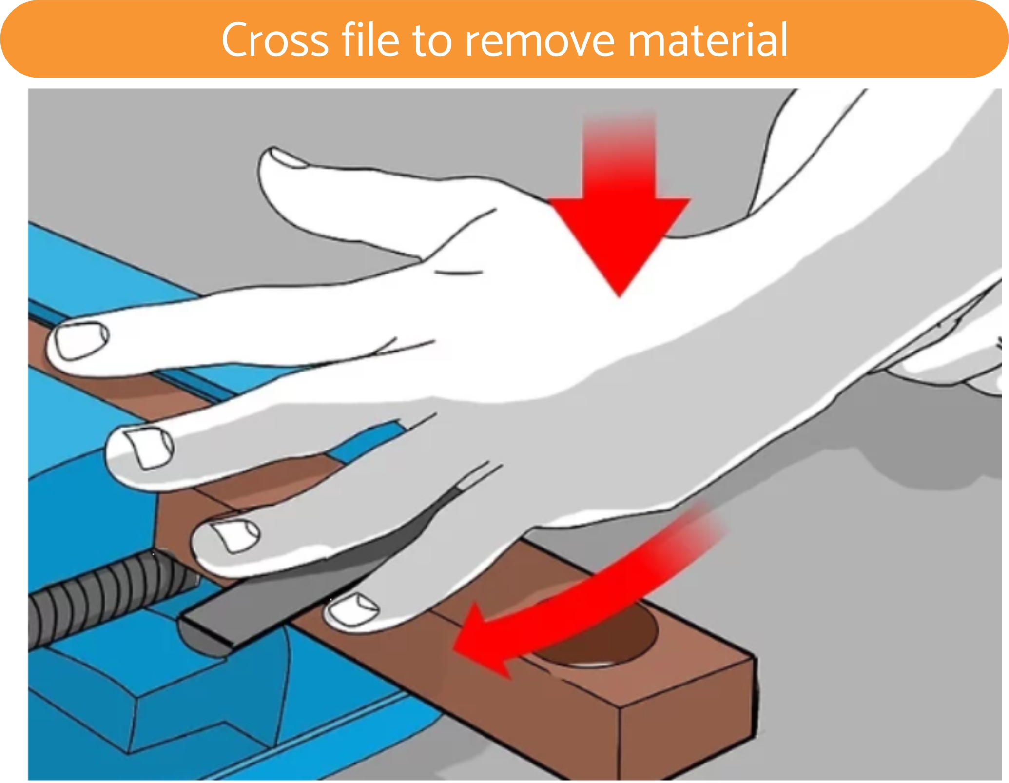 Cross file to remove material