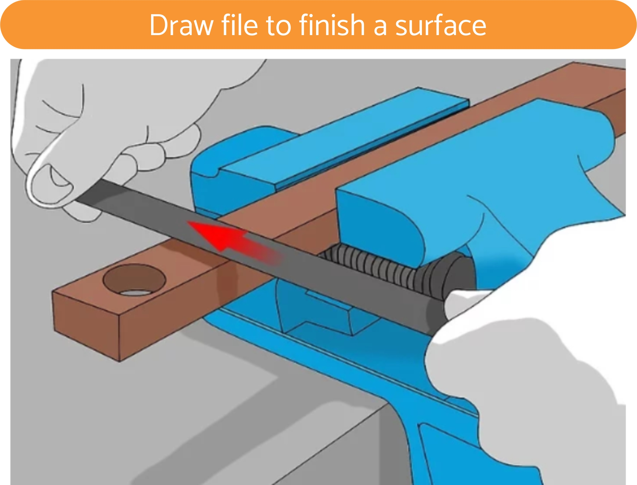 Draw file to finish a surface