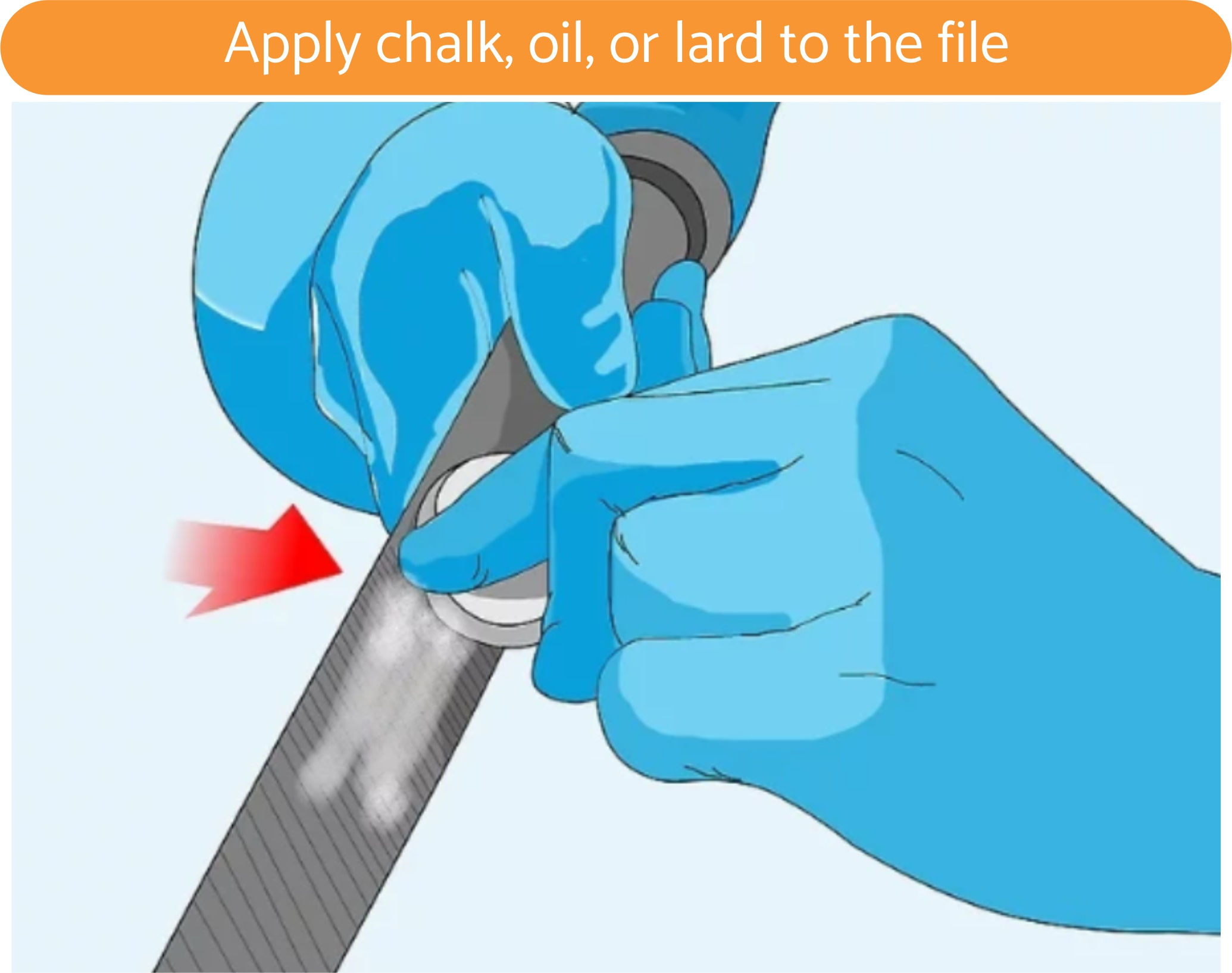 Apply chalk, oil, or lard to the file