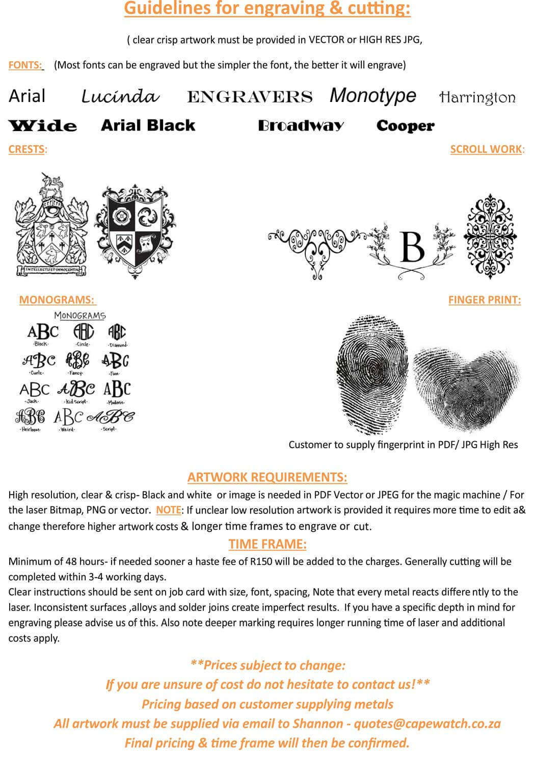 Guideline for engraving & cutting